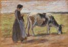 Liebermann, Max - Junge Kuhhirtin (Auf der Weide / Mädchen mit Kuh)
