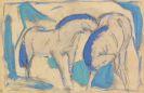 Franz Marc - Zwei Pferde, blaugrün
