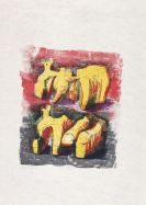 Henry Moore - Two reclining figures in yellow and red