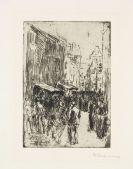 Max Liebermann - Aus dem Judenviertel in Amsterdam, Judengasse klein. Dabei: Selbstporträt