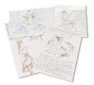Bele Bachem - 26 eigh. Briefe, 9 Karten, tlw. mit eigh. Zeichnungen + 2 Graphiken mit hs. Text, 3 Beigaben