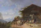 Bürkel, Heinrich - Rast vor einem Gasthof in den Bergen