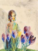 Emil Nolde - Stillleben mit Tulpen und einer Figur