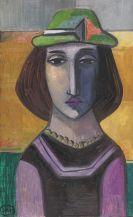 Johann Georg Müller - Bildnis einer Frau mit grünem Hut