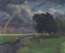Otto Modersohn - Wiesenlandschaft nach dem Regen (tiefe Sonne)