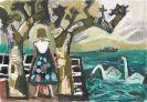 Otto Dix - Mädchen mit Platanen und zwei Schwänen am See