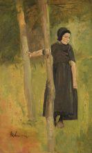 Max Liebermann - Kind unter Bäumen - Studie zu den
