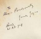James Joyce - Ulysses. Widmungsexemplar für Alex Ponisovsky