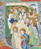 - Miniatur auf Pergament, ausgeschnitten. Maria und Apostel