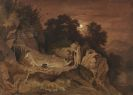 Adrian Ludwig Richter - Hirten am Feuer (Abendlandschaft)