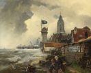 Andreas Achenbach - Hafenstadt mit stürmischer See