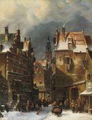Charles Leickert - Winterliche Stadtansicht