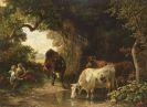 Friedrich Voltz - Hirtenkinder mit Kühen am Waldbach