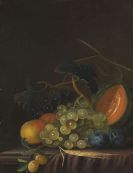 Bager, Johann Daniel - Stillleben mit Trauben, Pfirsichen, Zwetschgen und Melone