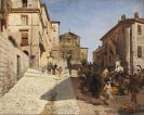 Oswald Achenbach - Ansicht von Genzano mit der Kirche Santa Maria della Cima