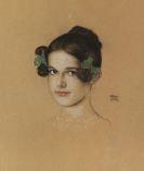 Franz von Stuck - Bildnis der Tochter Mary mit grünen Schleifen
