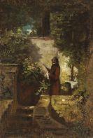 Carl Spitzweg - Der Zeitungsleser im Hausgarten