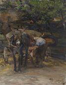 Zügel, Heinrich von - Eselfuhrwerk beim Anschirren