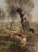 Heinrich von Zügel - Schäfer mit Hund und Herde unter Weidenbäumen am Wasser