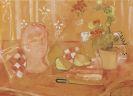 Oskar Moll - Kopfskulptur und Blumentopf mit Birnen und Messer