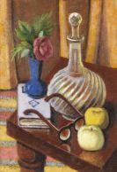 Metzinger, Jean - Carafe en Cristal et Lunettes