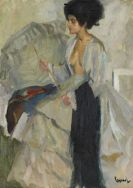 Edward Cucuel - Frau im Atelier