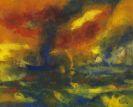 Emil Nolde - Abendmeer mit blauem Dampfer