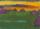 Nolde, Emil - Abendliche Marschlandschaft mit Heudiemen
