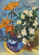 Karl Schmidt-Rottluff - Feuerlilien und Jasmin