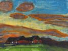Emil Nolde - Hof Seebüll unter Abendhimmel